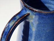 Tall pitcher in Argyll Blue - handle detail
